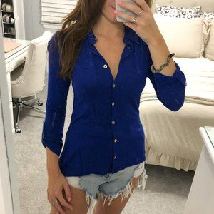 Royal Blue Stretchy Button Down Top